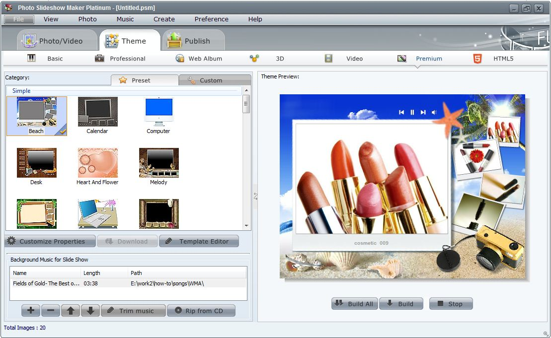 features of photo flash maker platinum- creating flash photo, Presentation templates